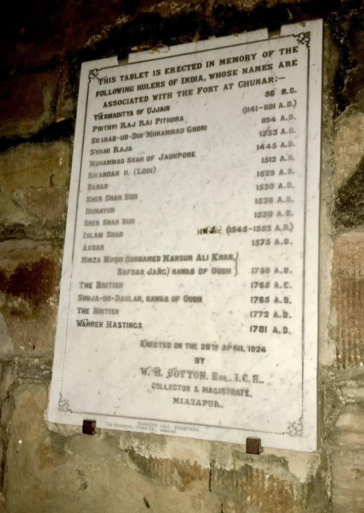 A history tablet of Chunar Fort