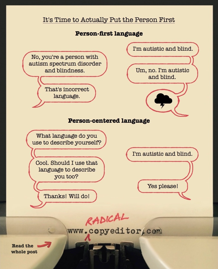 """Speech bubbles illustrating the difference between """"person-first language"""" and """"person-centered language"""""""
